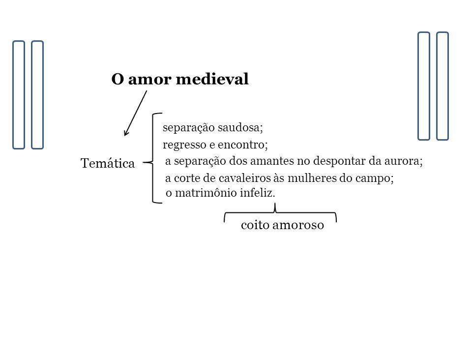 O amor medieval Temática coito amoroso separação saudosa;
