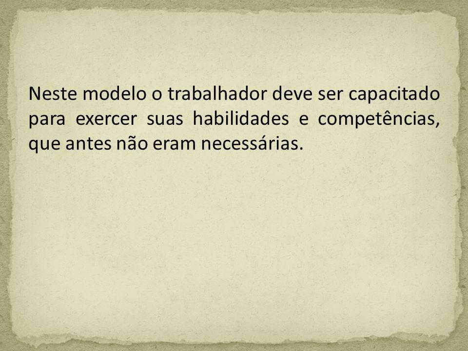 Neste modelo o trabalhador deve ser capacitado para exercer suas habilidades e competências, que antes não eram necessárias.