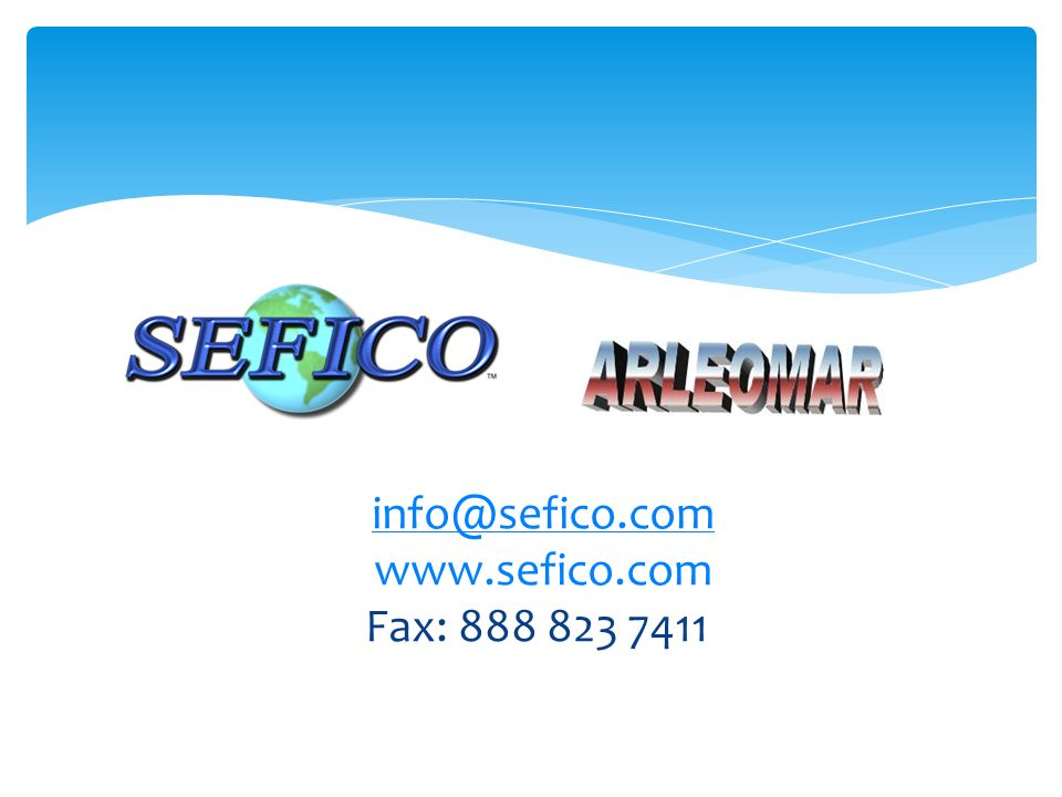 info@sefico.com www.sefico.com Fax: 888 823 7411