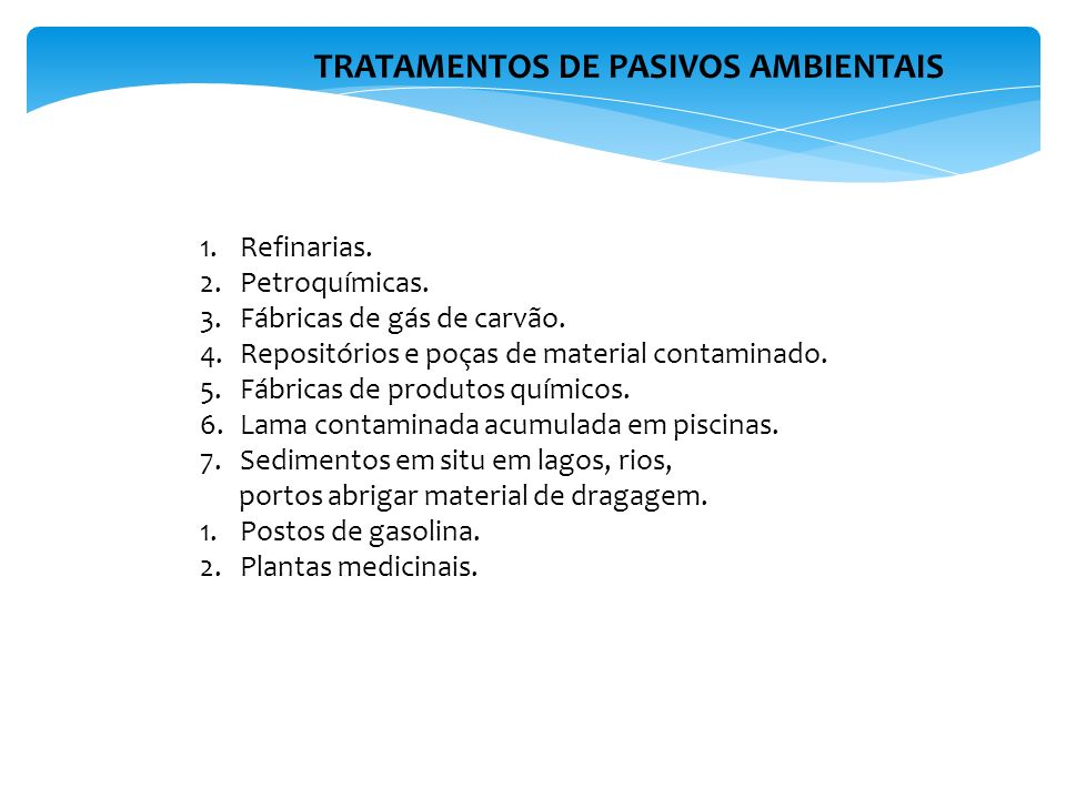 TRATAMENTOS DE PASIVOS AMBIENTAIS