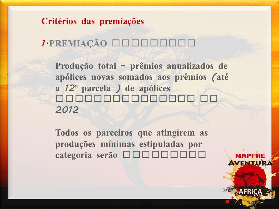 Campanhas Critérios das premiações 1.PREMIAÇÃO GARANTIDA