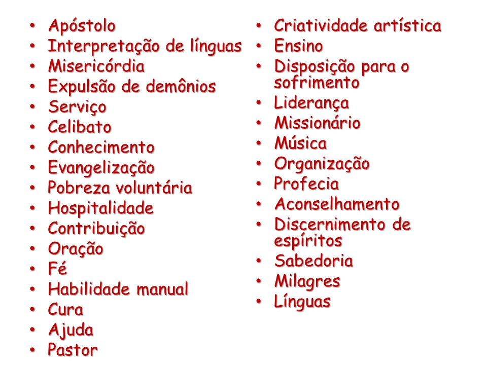 Apóstolo Criatividade artística. Interpretação de línguas. Ensino. Misericórdia. Disposição para o sofrimento.