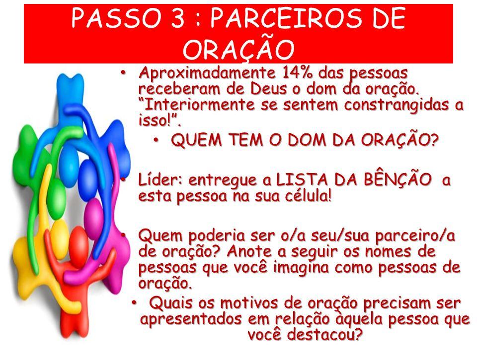 PASSO 3 : PARCEIROS DE ORAÇÃO