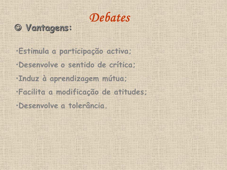 Debates  Vantagens: Estimula a participação activa;