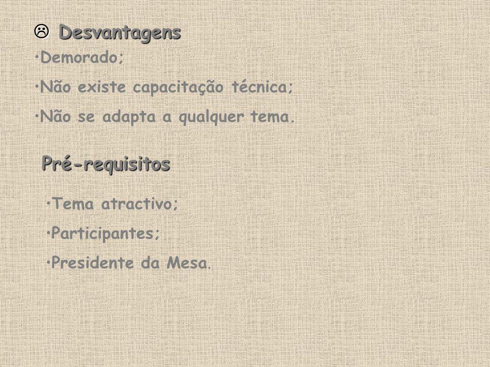  Desvantagens Pré-requisitos Demorado;