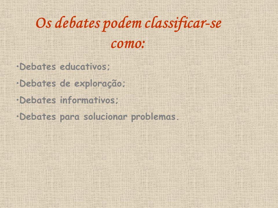Os debates podem classificar-se como: