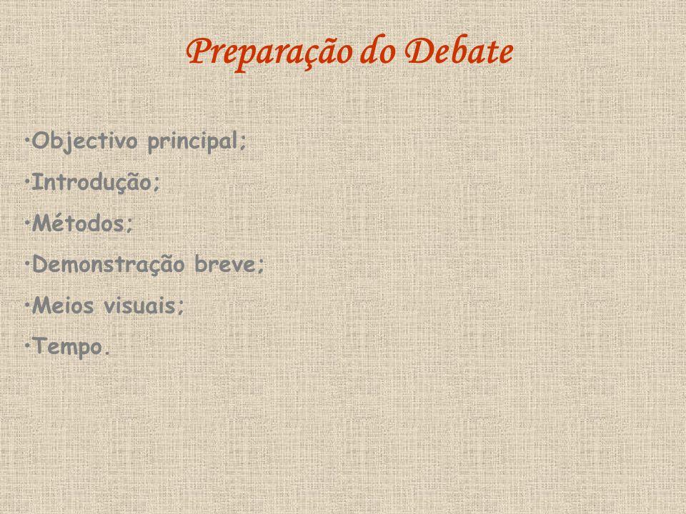 Preparação do Debate Objectivo principal; Introdução; Métodos;