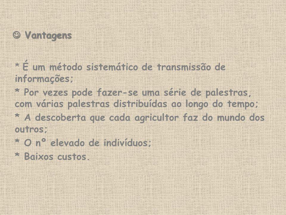  Vantagens * É um método sistemático de transmissão de informações;