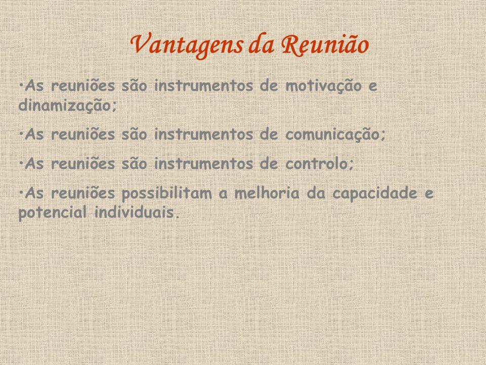 Vantagens da Reunião As reuniões são instrumentos de motivação e dinamização; As reuniões são instrumentos de comunicação;
