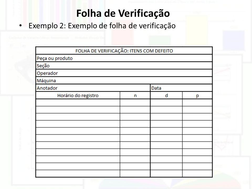 Folha de Verificação Exemplo 2: Exemplo de folha de verificação