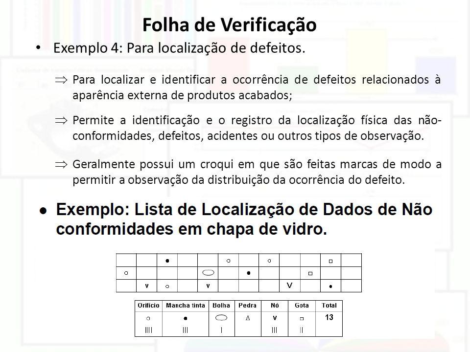 Folha de Verificação Exemplo 4: Para localização de defeitos.