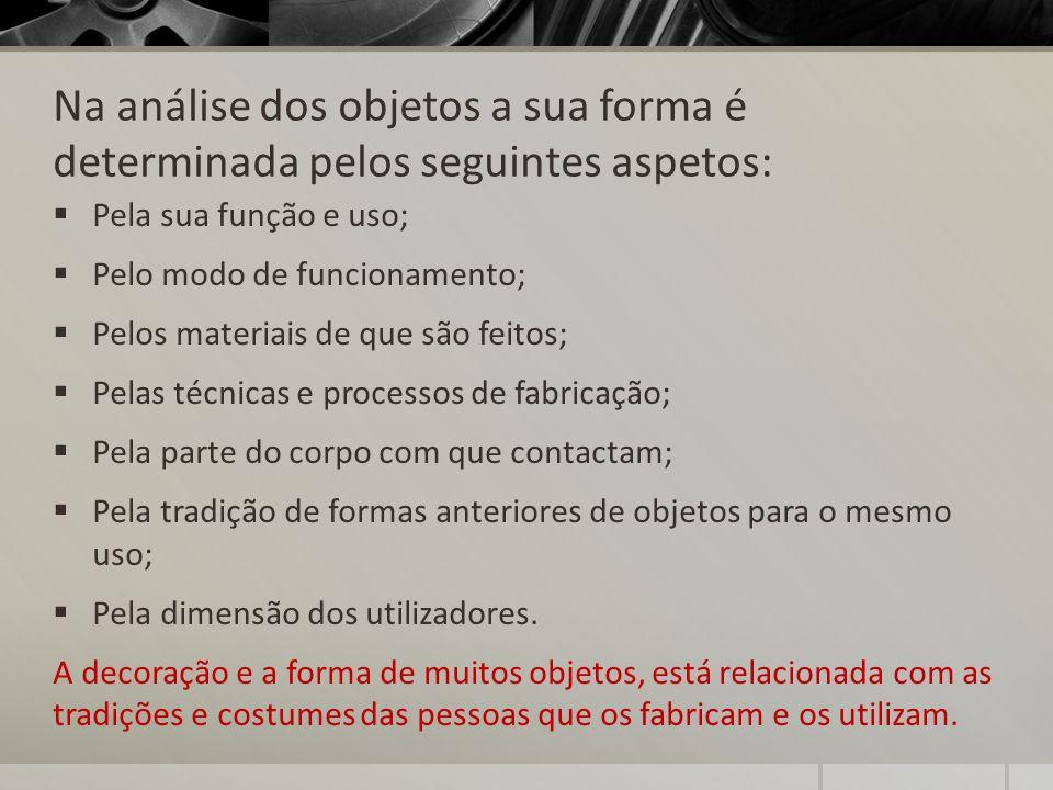 Na análise dos objetos a sua forma é determinada pelos seguintes aspetos: