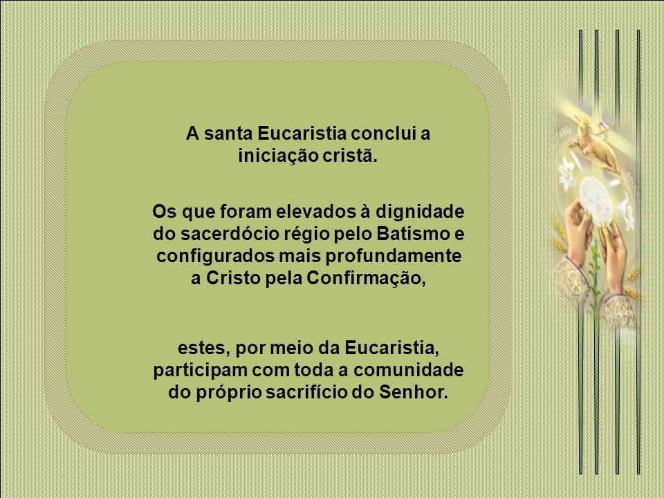 A santa Eucaristia conclui a iniciação cristã.