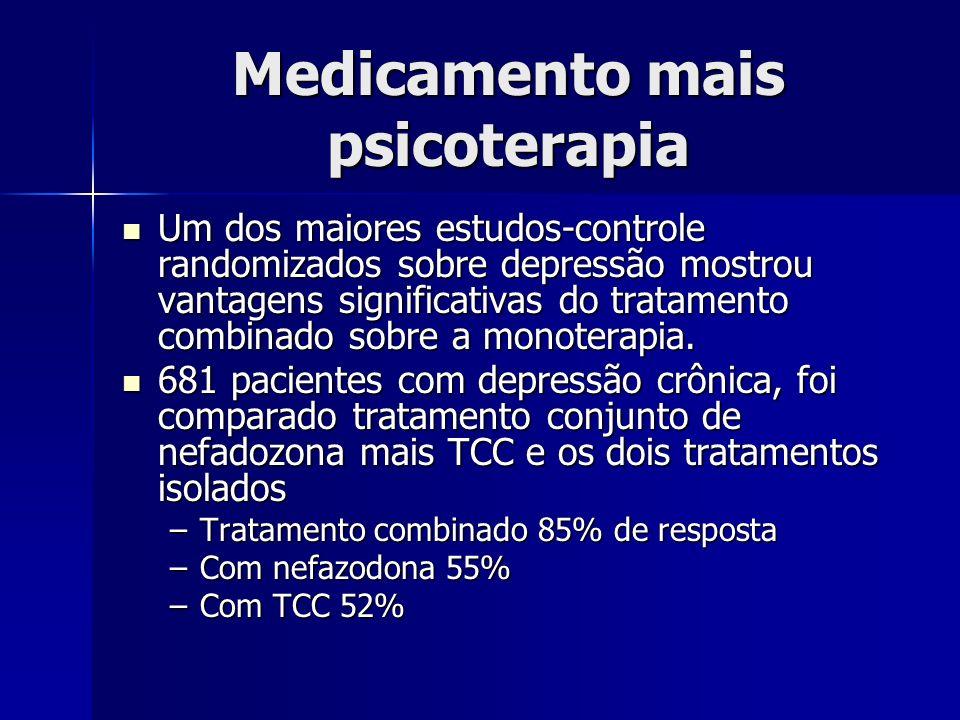 Medicamento mais psicoterapia