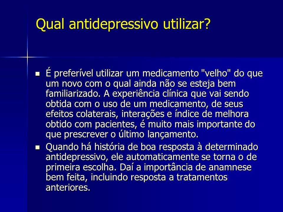 Qual antidepressivo utilizar