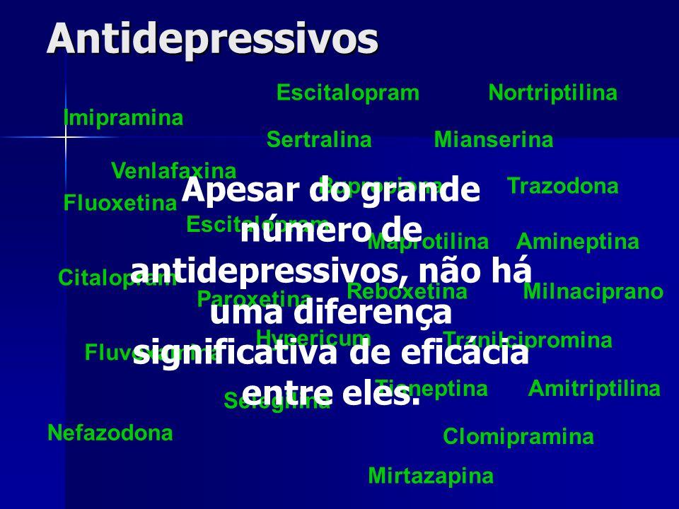 Antidepressivos Escitalopram. Nortriptilina. Imipramina. Sertralina. Mianserina. Venlafaxina.