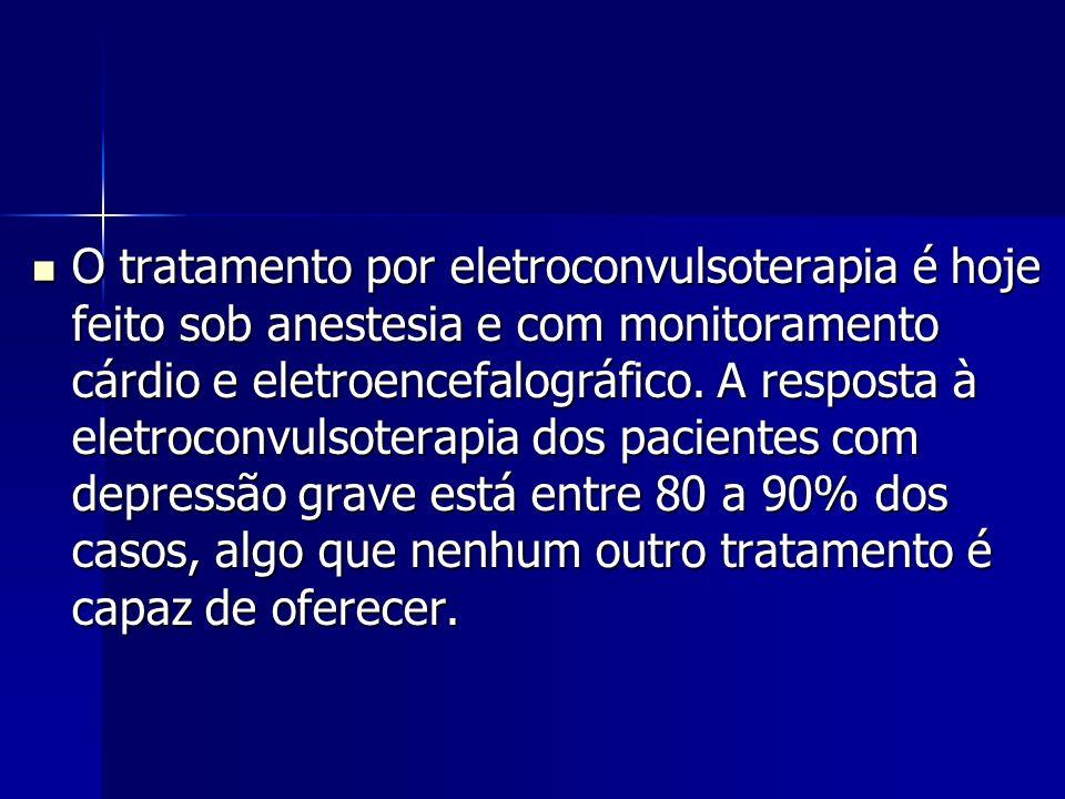 O tratamento por eletroconvulsoterapia é hoje feito sob anestesia e com monitoramento cárdio e eletroencefalográfico.