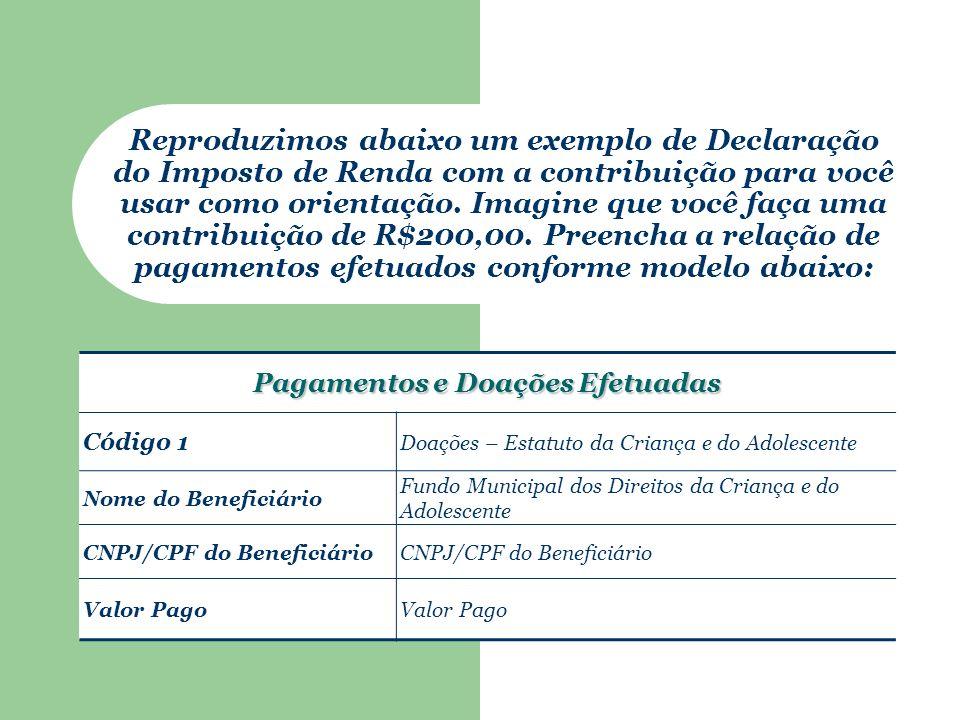 Pagamentos e Doações Efetuadas