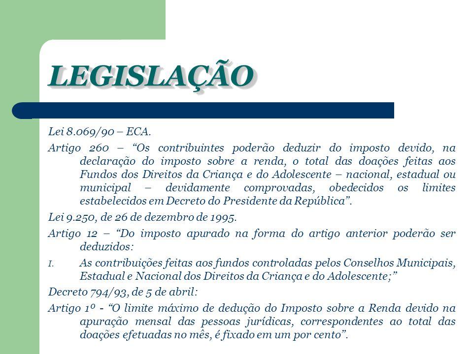 LEGISLAÇÃO Lei 8.069/90 – ECA.