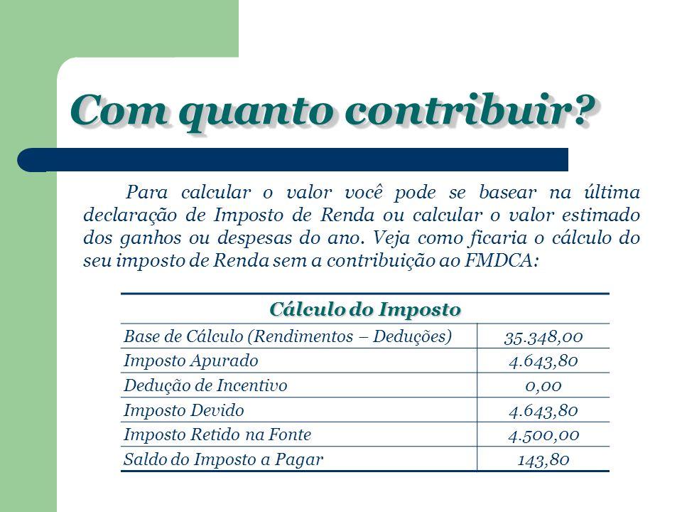 Com quanto contribuir Cálculo do Imposto