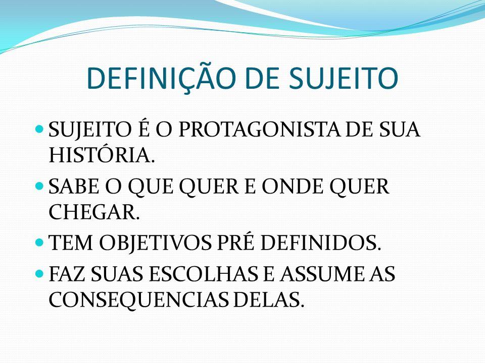 DEFINIÇÃO DE SUJEITO SUJEITO É O PROTAGONISTA DE SUA HISTÓRIA.