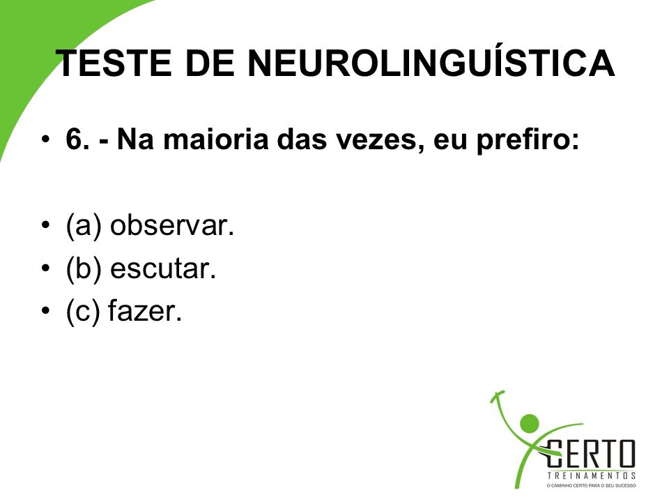 TESTE DE NEUROLINGUÍSTICA