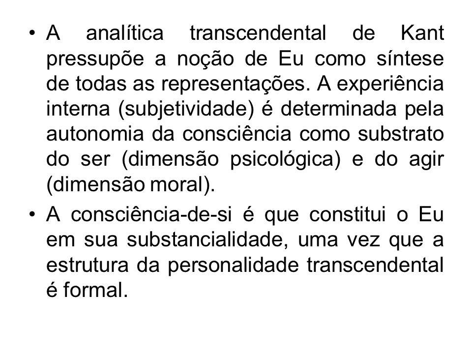 A analítica transcendental de Kant pressupõe a noção de Eu como síntese de todas as representações. A experiência interna (subjetividade) é determinada pela autonomia da consciência como substrato do ser (dimensão psicológica) e do agir (dimensão moral).