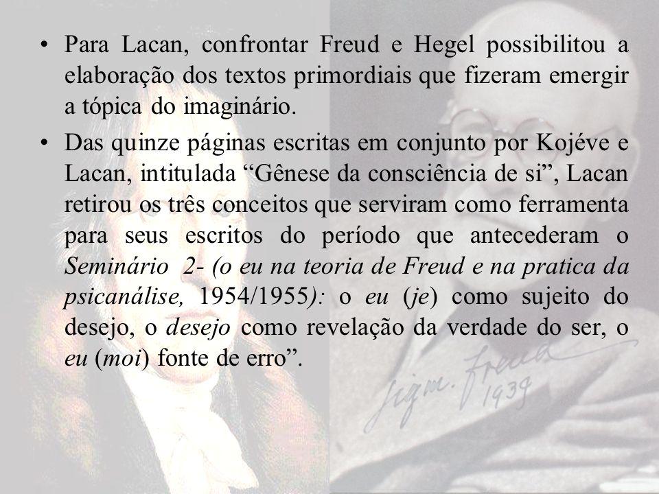 Para Lacan, confrontar Freud e Hegel possibilitou a elaboração dos textos primordiais que fizeram emergir a tópica do imaginário.