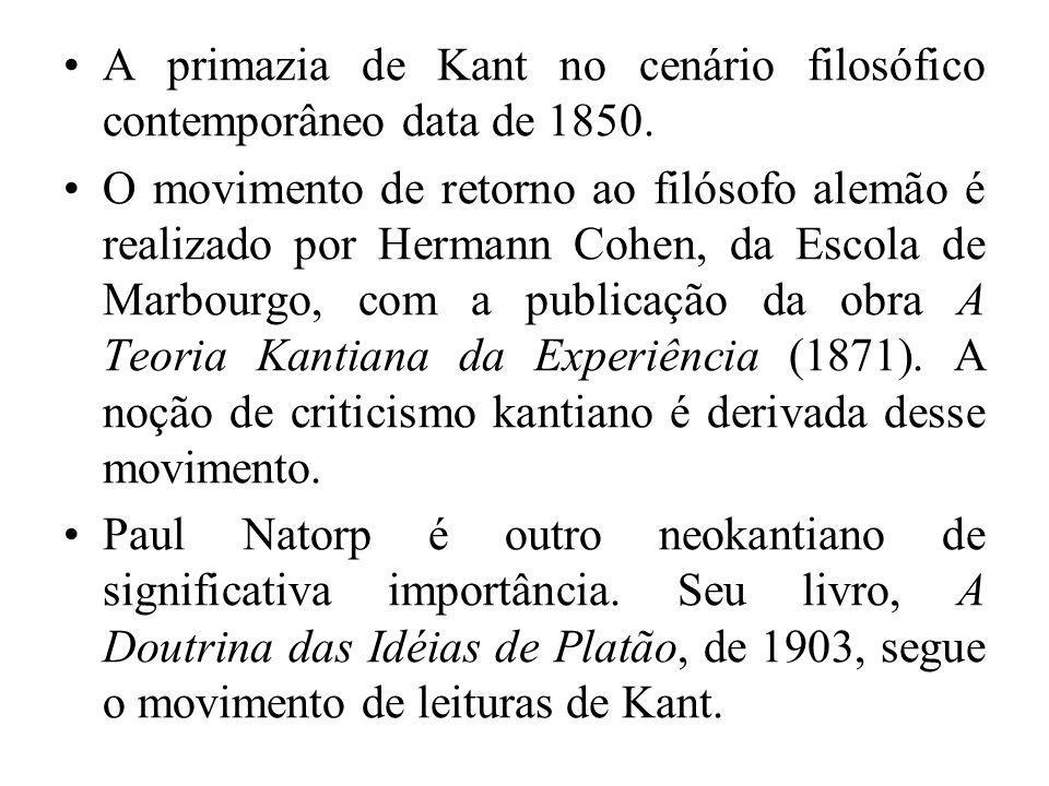 A primazia de Kant no cenário filosófico contemporâneo data de 1850.