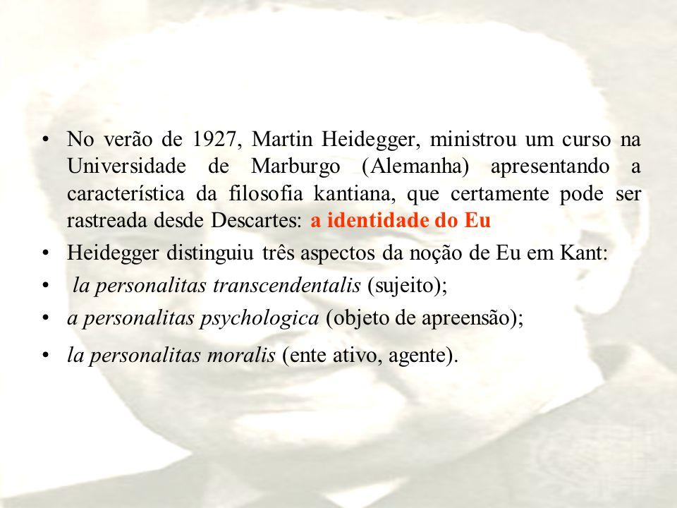 No verão de 1927, Martin Heidegger, ministrou um curso na Universidade de Marburgo (Alemanha) apresentando a característica da filosofia kantiana, que certamente pode ser rastreada desde Descartes: a identidade do Eu