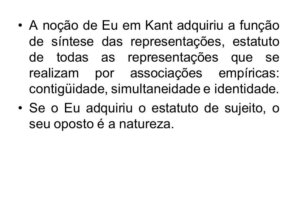 A noção de Eu em Kant adquiriu a função de síntese das representações, estatuto de todas as representações que se realizam por associações empíricas: contigüidade, simultaneidade e identidade.