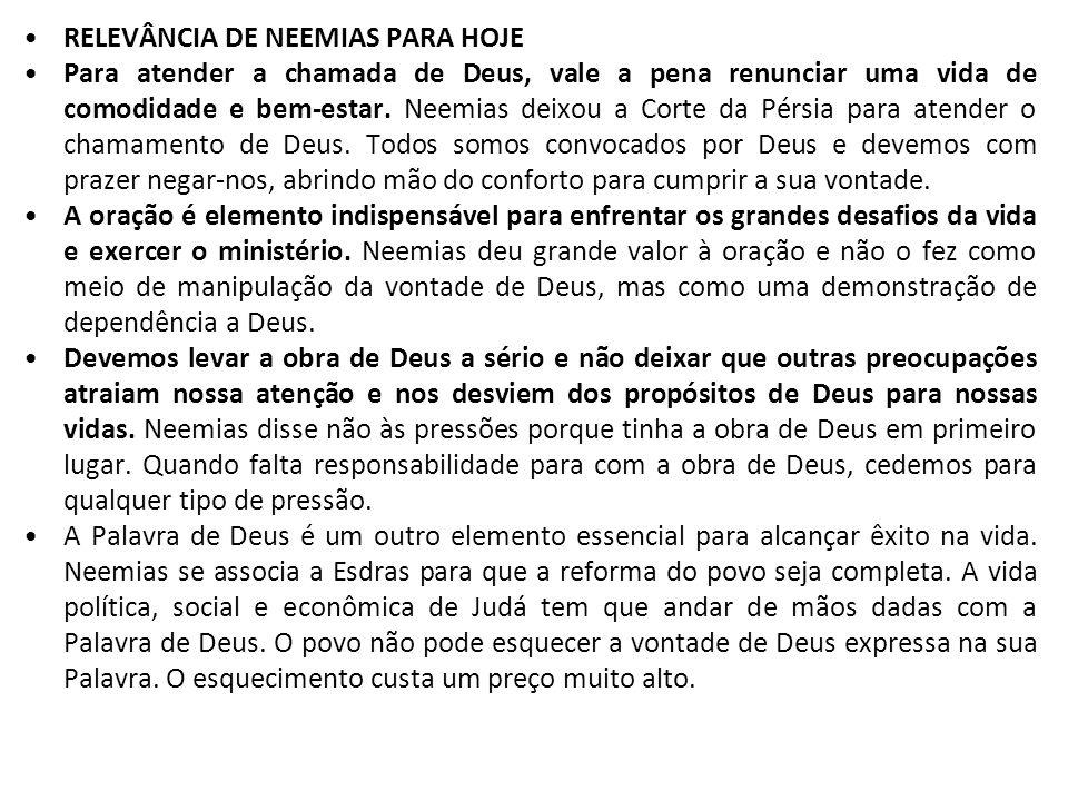 RELEVÂNCIA DE NEEMIAS PARA HOJE