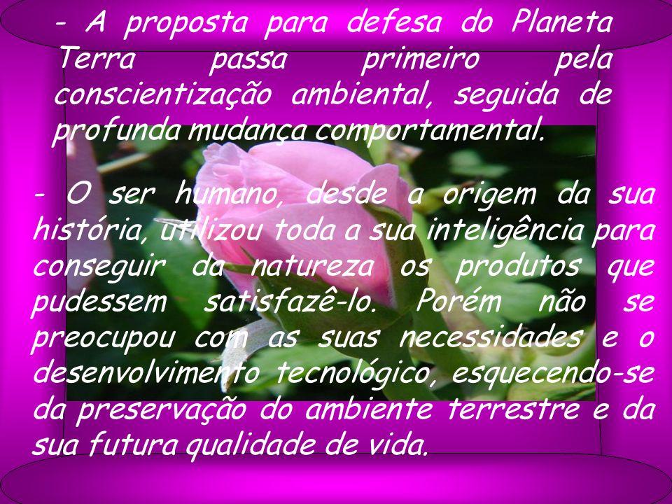 - A proposta para defesa do Planeta Terra passa primeiro pela conscientização ambiental, seguida de profunda mudança comportamental.