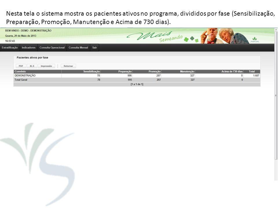 Nesta tela o sistema mostra os pacientes ativos no programa, divididos por fase (Sensibilização,