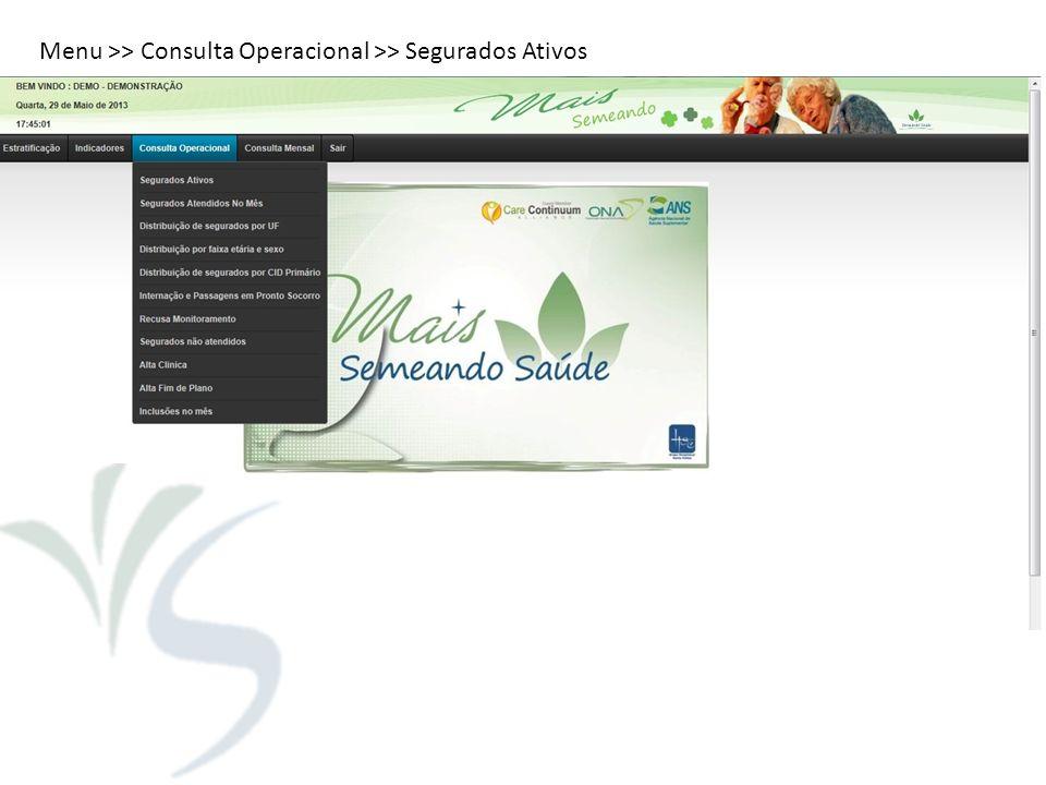 Menu >> Consulta Operacional >> Segurados Ativos