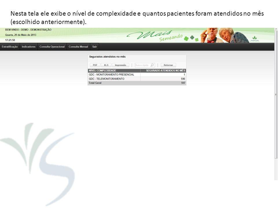 Nesta tela ele exibe o nível de complexidade e quantos pacientes foram atendidos no mês
