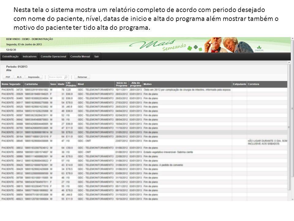 Nesta tela o sistema mostra um relatório completo de acordo com periodo desejado