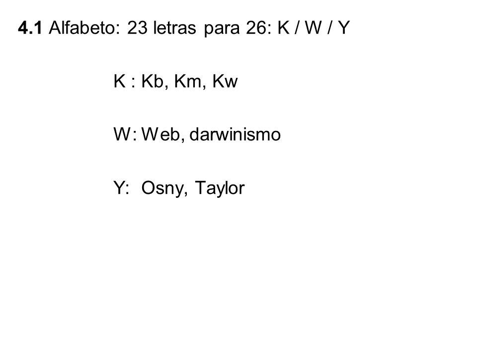 4.1 Alfabeto: 23 letras para 26: K / W / Y