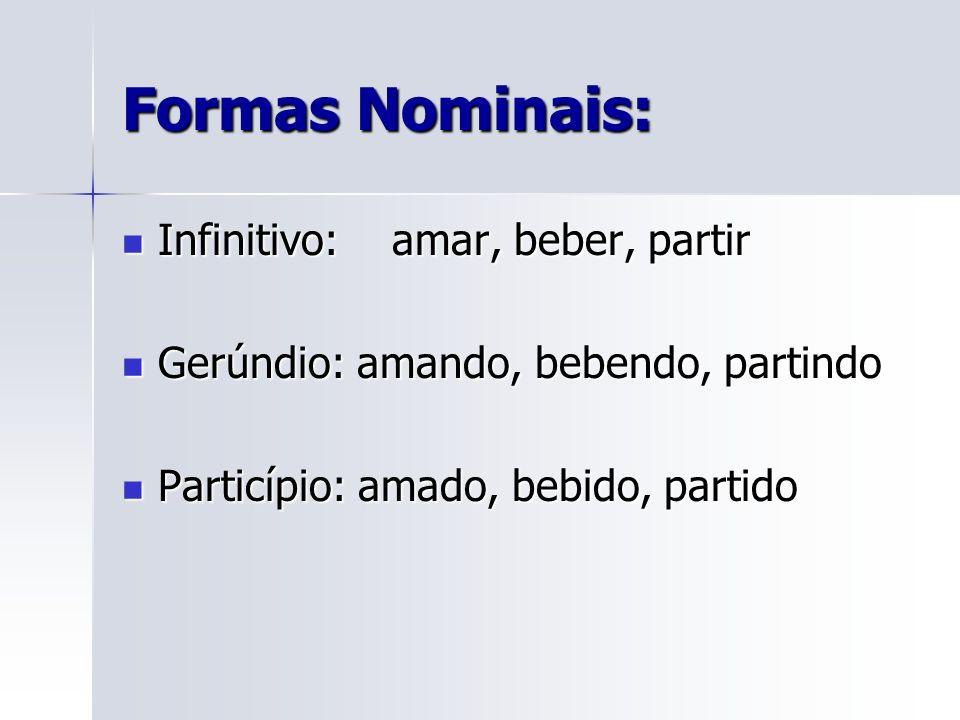 Formas Nominais: Infinitivo: amar, beber, partir