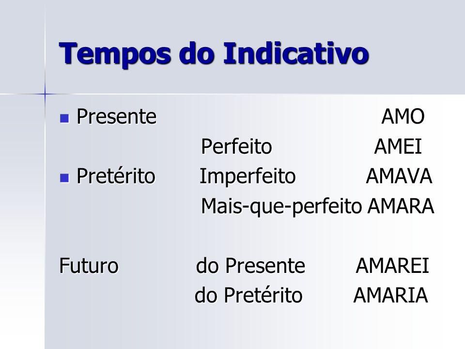 Tempos do Indicativo Presente AMO Perfeito AMEI