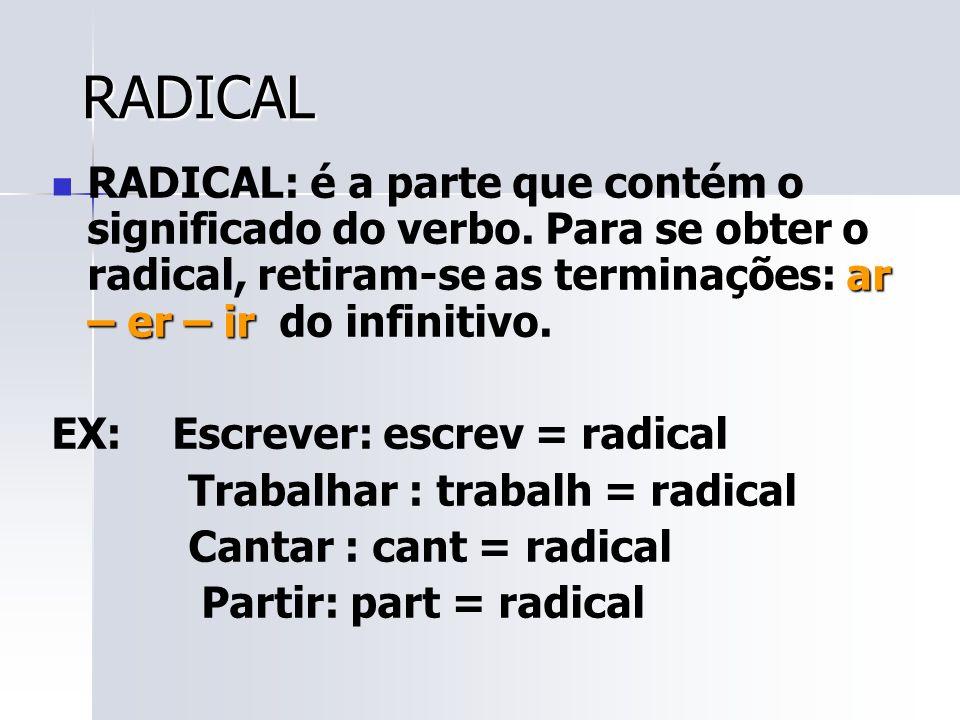 RADICAL RADICAL: é a parte que contém o significado do verbo. Para se obter o radical, retiram-se as terminações: ar – er – ir do infinitivo.