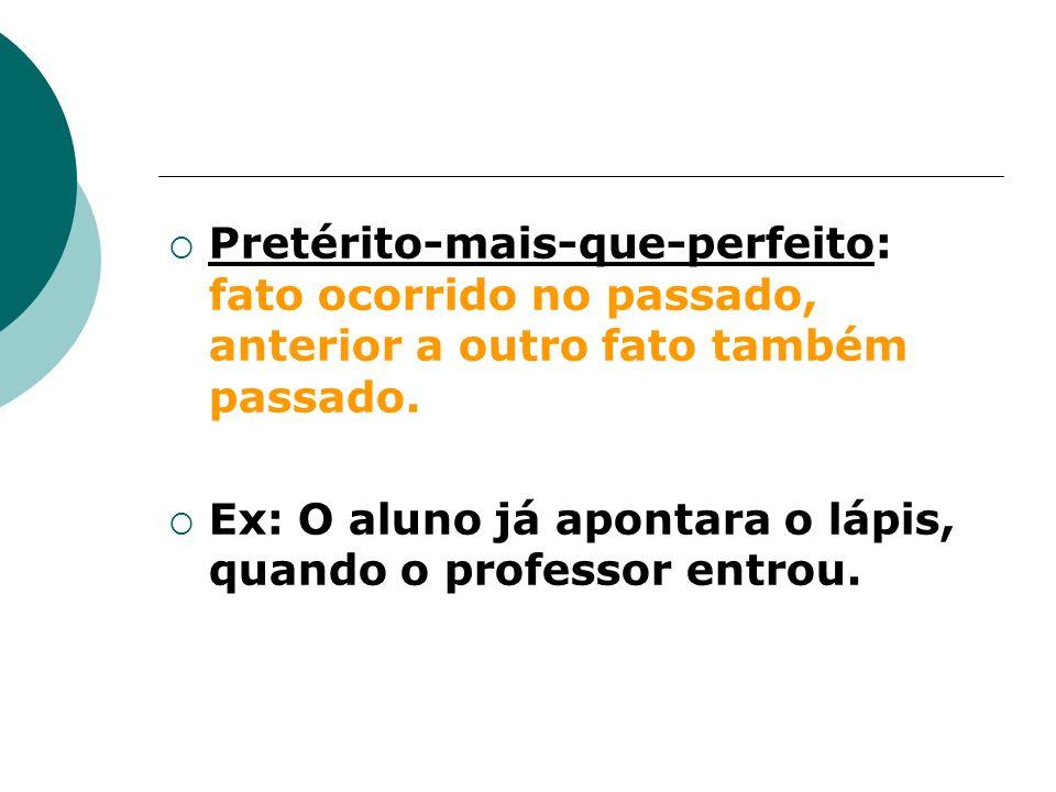 Pretérito-mais-que-perfeito: fato ocorrido no passado, anterior a outro fato também passado.