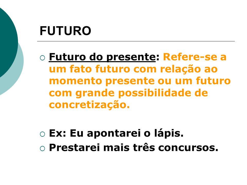 FUTURO Futuro do presente: Refere-se a um fato futuro com relação ao momento presente ou um futuro com grande possibilidade de concretização.