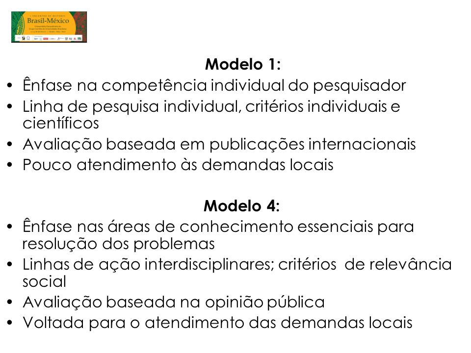 Modelo 1: Ênfase na competência individual do pesquisador