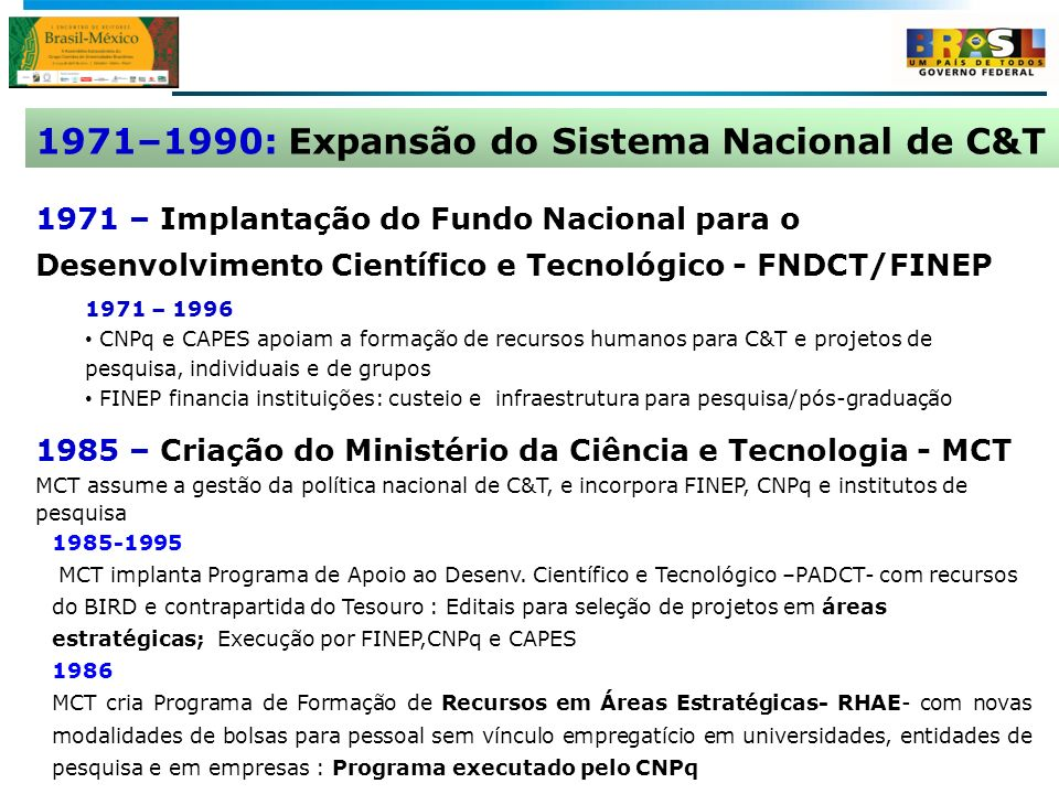1971–1990: Expansão do Sistema Nacional de C&T