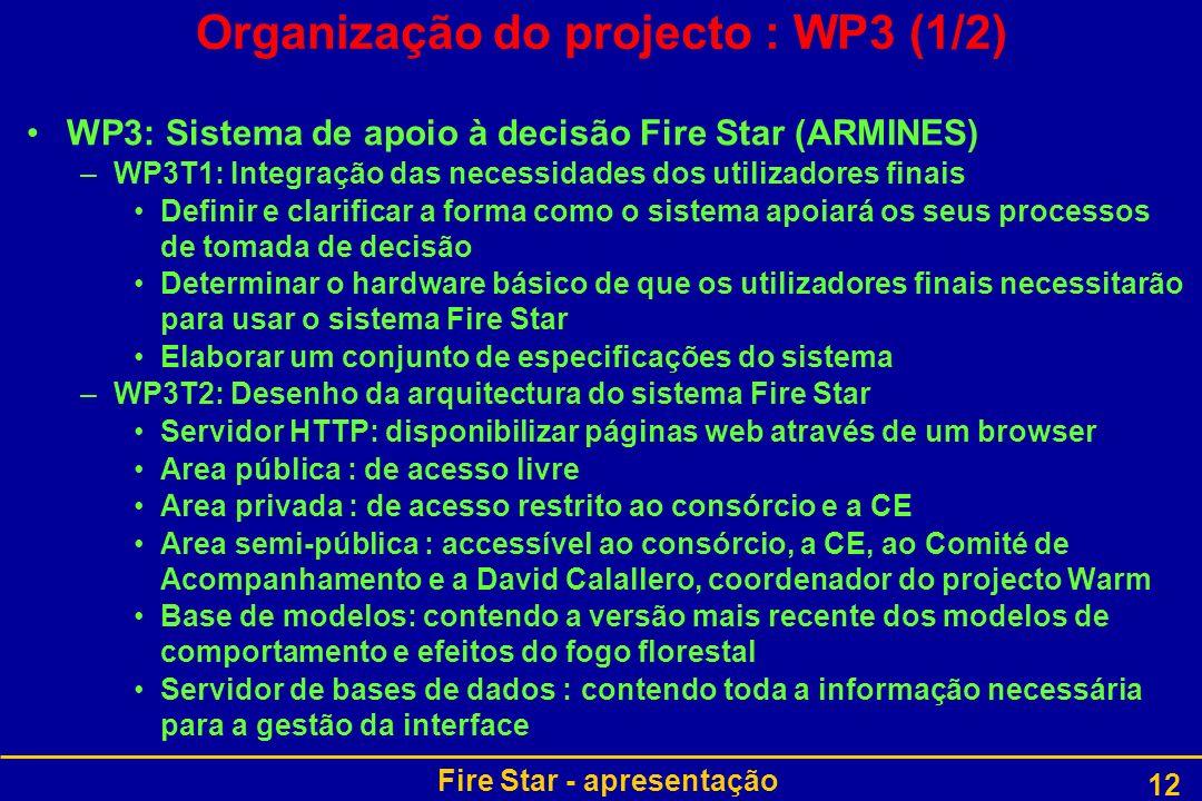 Organização do projecto : WP3 (1/2)