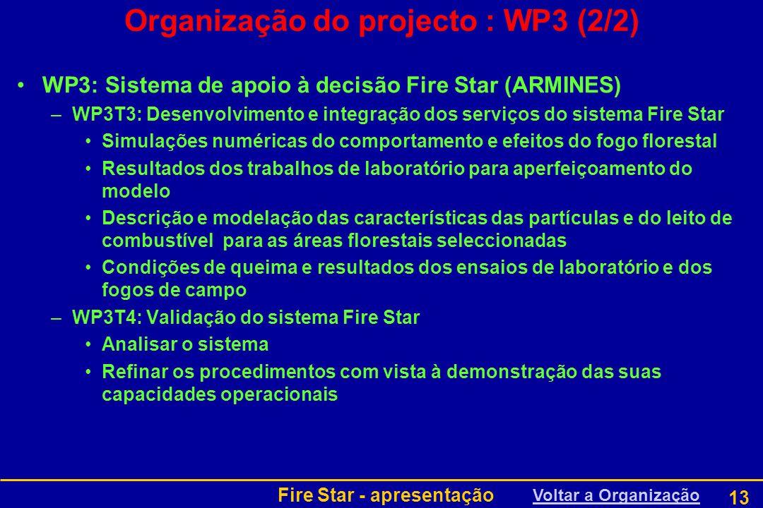 Organização do projecto : WP3 (2/2)