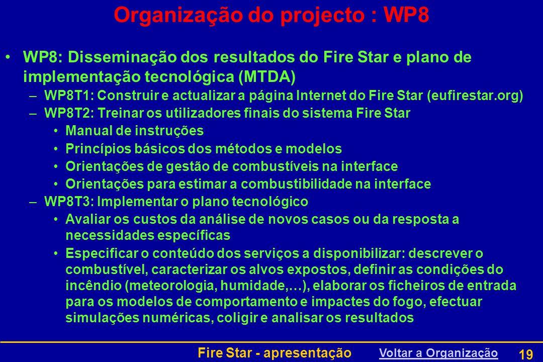 Organização do projecto : WP8