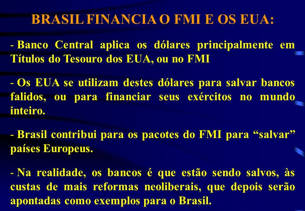 BRASIL FINANCIA O FMI E OS EUA: