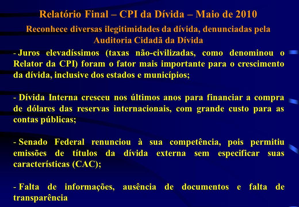 Relatório Final – CPI da Dívida – Maio de 2010